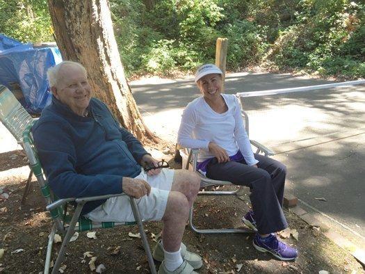 Barney McCallum and Jennifer Lucore at McCallum's pickleball court.